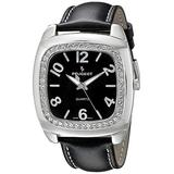 Peugeot Women's Crystal Bezel Boyfriend Watch, Easy to Read Dial with Colorful Leather Strap