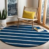 Martha Stewart Rugs Martha Striped Handmade Tufted Navy Area Rug Viscose/Wool in Blue/Brown/Navy, Size 72.0 H x 72.0 W x 0.63 D in | Wayfair