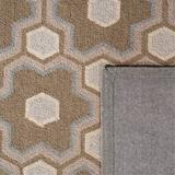 Martha Stewart Rugs Puzzle Geometric Hand-Hooked Wool Molasses Brown Area Rug Wool in Black, Size 69.0 H x 45.0 W x 0.3 D in | Wayfair MSR2327A-4