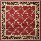 Alcott Hill® Maggio Floral Red/Black Area Rug Polypropylene in Black/Brown, Size 79.0 H x 79.0 W x 0.43 D in | Wayfair ATGD3108 38695955