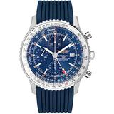 Breitling Navitimer World Blue Dial & Rubber Strap Men's Watch A2432212/C651-258S
