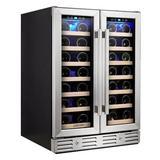 Kalamera 40 Bottle & 20 can Dual Zone Built-In Wine Refrigerator in Black/Gray, Size 33.9 H x 24.1 W x 23.4 D in   Wayfair KRC-40DZB