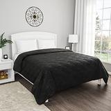 Lavish Home Black Coverlet-for King Size Basket Weave Quilted Pattern-Soft & Lightweight Bedding for All Seasons-Solid Color Bedspread