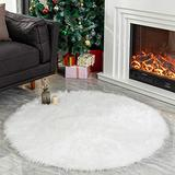 LEEVAN Plush Sheepskin Throw Round Rug Office Computer Chair Cover Faux Fur Cozy Shaggy Floor Mat Area Rugs Home Decor Super Soft Carpets Kids Play Rug Ivory White, Round 3 ft Diameter