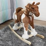 """Happy Trails kids Clydesdale Wooden Rocking Horse in Brown, Size 29"""" L x 11"""" W x 25"""" H 