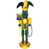 The Holiday Aisle® Mardi Gras Gator Nutcracker Wood in Brown/Green/Yellow, Size 15.5 H x 4.5 W x 4.0 D in   Wayfair HLDY8036 38277429