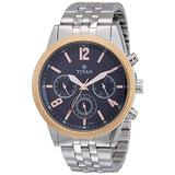 Titan Workwear Men's Chronograph Watch - Quartz, Water Resistant, Stainless Steel Strap - Silver Band and Blue Dial