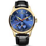 Carlien Unique Design Style Energy Display Automatic Watches Switzerland Brand Watch Luxury Men Watches (Gold&Blue)