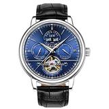 TEINTOP Carnival Men's Complications Automatic Mechanical Wrist Watch Large Dial (Blue Dial - Leather Band)