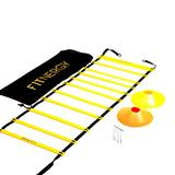 F1TNERGY Speed and Agility Workout Ladder Training Equipment Set Yellow 12 Rung Adjustable with Carrying Bag + 10 Cones (5 Orange+5 Yellow)+ 4 Pegs & D-Rings - Soccer Football Gear Drills hurdles kids