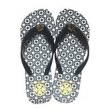 Tory Burch Isidro Flip Flops Shoes Sandals Flat Rubber (Black-White) Size 7