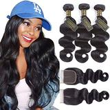 QTHAIR 12A Brazilian Body Wave Hair with 4x4 Middle Part Lace Closure(18 20 22 with 16 inch) Brazilian Virgin Hair Body Wave with Swiss Lace Closure Natural Color