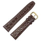 Water resistant, brown croc grain, genuine leather Padded Watch Band (13mm, 16mm, 18mm, 19mm, 22mm, 24mm, 26mm) by DAKOTA (26mm)