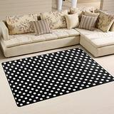 WOZO Polka Dot Black White Area Rug Rugs Non-Slip Floor Mat Doormats Living Dining Room Bedroom Dorm 60 x 39 inches inches Home Decor