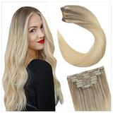 Ugeat Human Hair Clip in Extensions 20 Inch Remy Human Hair Extensions Clip in Blonde 7PCS Balayage #18/22/60 Clip in Remy Human Hair Extensions Clip in Hair Weft