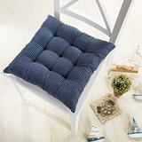 Ofit Set of 4 Cord Micro Suede Fully Quilted Dining Chair Cushion Pads 17x17 (Blue)