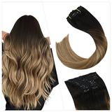 Ugeat 16 Inch Remy Human Hair Extensions Clip in Remy Hair Clips Extensions Human Hair Black to Brown with Blonde Clip in Hair Extensions Natural Hair 10PCS Human Hair Clip in