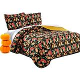 DaDa Bedding Collection Marigold's Elegant Autumn Garden Reversible Quilted Coverlet Bedspread Set - Bright Vibrant Floral Multi Colorful Solid Mustard Yellow & Brown - King - 3-Pieces.