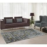 Ebern Designs Finley Geometric Gray Area Rug Polypropylene in Black, Size 65.0 H x 45.0 W x 0.47 D in | Wayfair EBND4066 39411367
