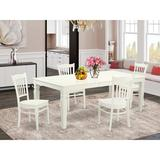 Darby Home Co Beesley 5 - Piece Extendable Rubberwood Solid Wood Dining Set Wood in White, Size 30.0 H in | Wayfair DABY5551 39638860