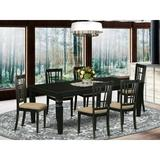Darby Home Co Beesley 7 - Piece Butterfly Leaf Rubberwood Solid Wood Dining SetWood/Upholstered Chairs in Black, Size 30.0 H in   Wayfair