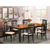 Darby Home Co Beesley 7 - Piece Butterfly Leaf Rubberwood Solid Wood Dining Set Wood/Upholstered Chairs in Brown, Size 30.0 H in   Wayfair