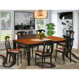 Darby Home Co Beesley Butterfly Leaf Rubberwood Solid Wood Dining Set Wood/Upholstered Chairs in Brown, Size 30.0 H in | Wayfair