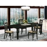 Darby Home Co Beesley 5 Piece Butterfly Leaf Solid Wood Dining Set Wood/Upholstered Chairs in Black, Size 30.0 H in | Wayfair DABY5527 39638831