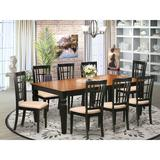 Darby Home Co Beesley 9 - Piece Butterfly Leaf Rubberwood Solid Wood Dining Set Wood/Upholstered Chairs in Black | Wayfair DABY5537 39638844