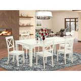 Darby Home Co Beilby 7 Piece Butterfly Leaf Solid Wood Dining Set Wood in Brown/White, Size 30.0 H in | Wayfair DABY5544 39638853