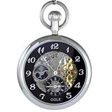 Ogle 3ATM Waterproof Large Size Vintage Stainless Steel Moon Phase Double Time Fob Self Winding Automatic Skeleton Mechanical Pocket Watch Chain Box (Silver Black)
