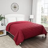 Lavish Home Burgundy Coverlet-for King Size Basket Weave Quilted Pattern-Soft & Lightweight Bedding for All Seasons-Solid Color Bedspread
