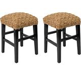 BIRDROCK HOME Checkered Weave Seagrass Backless Counterstools - Set of 2 - Hand-Woven - Dark Brown Mahogany - Counter Height - Fully Assembled Stools - Natural
