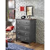 Hillsdale Furniture Urban Quarters 4 Drawer Metal Chest, Black Steel/Antique Cherry