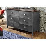Hillsdale Furniture Urban Quarters 6 Drawer Metal Dresser, Black Steel/Antique Cherry Finish