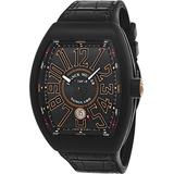 Franck Muller Vanguard Mens Automatic Date Black Titanium Face Black Rubber Strap Watch V 45 SC DT TT NR BR.SN