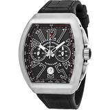 Franck Muller Vanguard Mens Automatic Date Chronograph Black Titanium Face Black Rubber Strap Watch V 45 CC DT TT BR.NR.NR