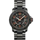 LIV Swiss Watches GX1-A Swiss Made Automatic Self Winding Analog Display Dress Watch for Men - 42 mm Stainless Steel with Date Calendar - 330 feet Water-Resistant - Signature Orange
