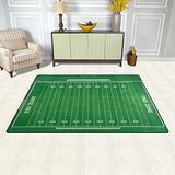 WOZO Green American Football Field Striped Area Rug Rugs Non-Slip Floor Mat Doormats for Living Room Bedroom 31 x 20 inches