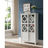 White Wood Curio Bookcase Display Storage Cabinet with Glass Sliding Doors