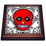 "3dRose Day of The Dead Skull Dia De Los Muertos Sugar Skull Red White Black Scroll Design Trivet with Ceramic Tile, 8 by 8"", Brown"