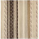 Dakota Fields Eaton Striped Handmade Tufted Wool/Cotton Ivory/Area Rug Cotton/Wool in Brown, Size 84.0 W x 0.63 D in   Wayfair WNPR3876 39828134