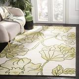 Winston Porter Coleman Hand-Tufted Wool/Cotton Ivory/Light Green Area Rug Cotton/Wool in Brown/Green, Size 120.0 H x 96.0 W x 0.63 D in   Wayfair