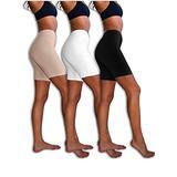 Sexy Basics Womens 3 Pack Sheer & Sexy Cotton Spandex Boyshort Yoga Bike Shorts (Large- 7, Black /White /Kahki)