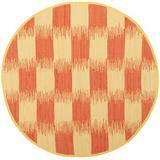 August Grove® Opie Ikat Handmade Flatweave Cotton Yellow/Orange Area Rug Cotton in Brown/Orange/Yellow, Size 72.0 H x 72.0 W x 0.25 D in | Wayfair