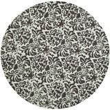 House of Hampton® Runner Altman Damask Hand Hooked Wool Chocolate Area Rug Wool in White, Size 36.0 W x 0.25 D in   Wayfair CHRL2499 38071000
