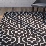 Wrought Studio™ Smith Geometric Handmade Flatweave Cotton Black/Ivory Area RugCotton in Brown/White, Size 72.0 H x 72.0 W x 0.25 D in   Wayfair