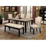 Red Barrel Studio® Reagle 6 Piece Breakfast Nook Dining Set Wood/Upholstered Chairs in Black/Brown/Gray, Size 30.0 H x 36.0 W x 60.0 D in   Wayfair