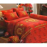 """Manchester United Football Club Official Licensed Bedding Set, Bed Sheet, Pillow Case, Bolster Case, MU001 Set C, 72""""x78"""" King Size"""