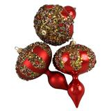 """Barcana 3 Count Red Glitter Sequin Beaded Shatterproof Christmas Finial Ornaments, 5"""""""